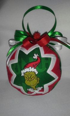 Grinch Christmas folded fabric ornament 2013 front