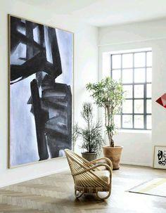 Hand painted Vertical Minimal Art, Geometric art, minimalist painting canvas art, black, white, blue from CZ ART DESIGN @CZ Art Design @CeilneZiangArt