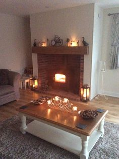 Large Contemporary Beam in Modern Home Brickwork Fireplace
