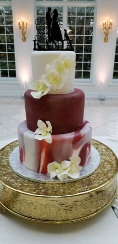 Calumet Bakery Marbled Fondant Wedding Cake with Orchids