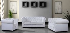 3 Piece White Tufted Leather Sofa Set