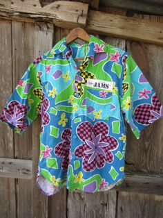 Original Jams Surf Line Hawaii - Tropical Surf Button-down Shirt - Teal / Light Blue / Green / Yellow / Purple Funky Print - Light Blue Green, Yellow, Surf Line, Surf Outfit, Teal, Purple, Hawaiian, Button Down Shirt, Tropical