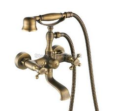 84.69$  Watch here - http://alitaf.shopchina.info/1/go.php?t=32639531497 - Classic Antique Brass Wall Mounted Bathroom Dual Cross Handles Bathtub Faucet with Handheld Shower Head Mixer Tap Wtf009  #buyonline