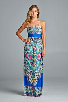 Venecia tube maxi dress in royal blue