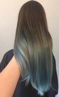 Brown to silver blue color melt #ombre #portland by Holly at Blueprint Modern Hair. IG @hollylikeshair