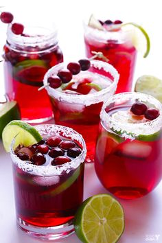Cranberry Margaritas: Consider these margaritas the perfect Thanksgiving cocktail to sip on while you're waiting for the pies to be served. Find more easy and tasty Thanksgiving menu recipes and ideas including appetizers, sides, main dishes, desserts and cocktails here.