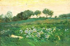 """California Landscape with Field of Purple Irises,"" Charles Warren Eaton, oil on canvas 12 x 18"", private collection."