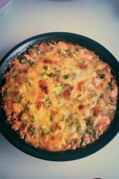 Zucchini pizza. Recipe here http://www.tasteofhome.com/recipes/zucchini-pizza-casserole