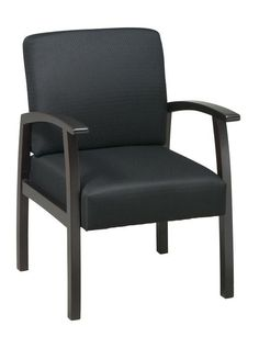 Office Star Work Smart WD1358-363 Deluxe Espresso Finish Guest Chair. Black Triangle Fabric