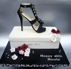 Jimmy Choo shoe with cake shoe box - by BakeCakeCreate @ CakesDecor.com - cake decorating website