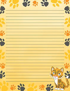 Free printable tiger paw print stationery for x 11 paper. Printable Lined Paper, Free Printable Stationery, Free Printable Stickers, Printable Cards, Lined Writing Paper, Tiger Paw, Cute Stationary, Notebook Paper, Notebook Covers