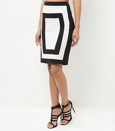 853c29c55 Womens black and white parisian colour block skirt from New Look - £15.99  at ClothingByColour
