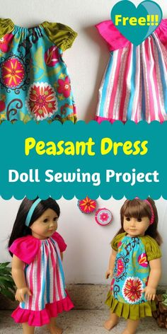 American Girl Outfits, American Doll Clothes, American Dolls, Sewing Doll Clothes, Girl Doll Clothes, Barbie Clothes, Dress Sewing, Peasant Dress Patterns, Doll Dress Patterns