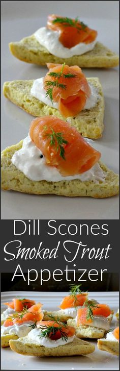 An easy and elegant wine tasting party appetizer recipe idea. Sour Cream Dill Scones with Horseradish Cream Sauce, Smoked Trout or Salmon.  via /lannisam/