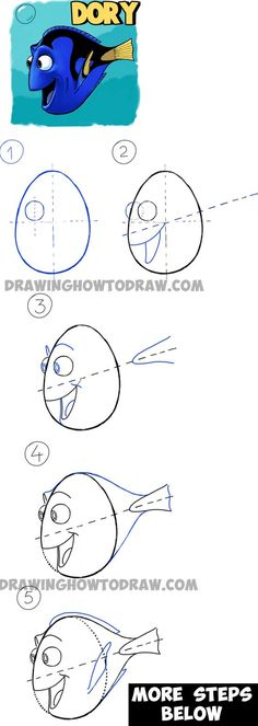 Kunst Zeichnungen - How to Draw Dory from Pixars Finding Nemo in Easy Steps Drawing Tutorial - Beste Art Pins Dory Drawing, Painting & Drawing, Rock Painting, Drawing Drawing, Learn Drawing, Drawing Lessons, Drawing Techniques, Art Lessons, Disney Drawings