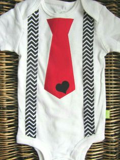 Baby Boy Clothes  Black Chevron Suspenders And Red Tie Onesie With Heart    Coming Home Outfit   Boys Valentines Day Outfit   Boys Birthday Paired With  A Red ...