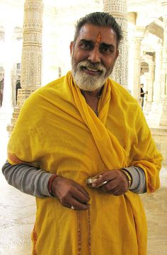 Jain priest at the Chaumukha Temple, Ranakpur, Rajasthan, India
