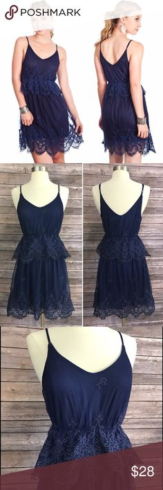 Umgee Dress Navy Blue Lace Womens Sizes S M L Adorable lace Umgee dress in navy blue. Available in Small, Medium, and Large. 75% cotton and 25% polyester. See photos for size chart with measurements. Umgee Dresses