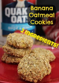 Banana Oatmeal Cookies Recipe -Only two ingredients!!! It doesnt get much easier than this. #eatclean #recipe #clean #healthy #recipes