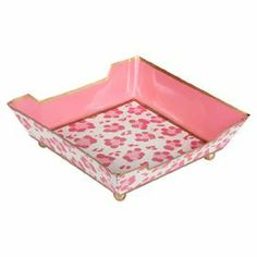 """Hand-painted trinket tray with a leopard-print motif and contrasting trim. Crafted of upcycled metal.   Product: Trinket trayConstruction Material: Upcycled metal Color: PinkFeatures:  Lead freeHand-paintedLeopard-print motifDimensions: 2"""" H x 5.5"""" W x 5.5"""" D"""