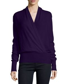 I know the black would be more practical, but this cashmere faux wrap sweater in this purple looks rich and heavenly.