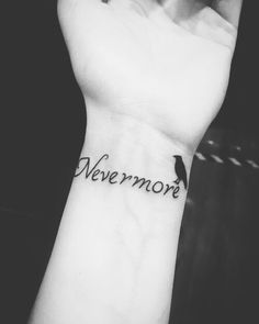 My first tattoo #tattoo #nevermore #wristtattoo #smalltattoo #blackandwhite
