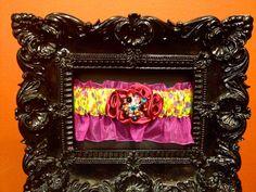 FREE SHIPPING: Designer Couture Multi Color Bright Pink Yellow Purple Blue Orange Rainbow Rhinestone Brooch Embellished Garter. $29.99, via Etsy.