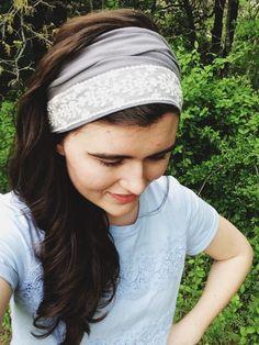 Cecily's Delicate Lace in Gray Headwrap - Lydia