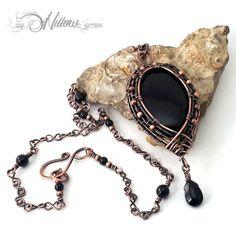 Nostalgia Genuine Copper Wire Wrapped Onyx and Jet by MyWillowGems #wirewrappedjewelry #handmadejewelry