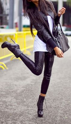 Sequin leggings with combat heels and a leather moto jacket! If you like my pins, please follow me and subscribe to my new fashion channel! It's free! Let me help u find all the things that u love from Pinterest! https://www.youtube.com/watch?v=XSiQP5OFjXE&list=UUCP8TXebOqQ_n_ouQfAfuXw