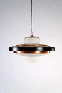 Anonymous; #1219 Copper, Enameled Aluminum and Opaline Glass Ceiling Light by Stilnovo, c1960.
