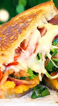 Three Cheeze with bacon, arugula, tomato--what's not to LOVE?!