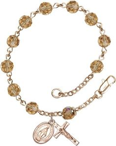 14 Karat Gold Rosary Bracelet features 6mm Topaz Swarovski, Austrian Tin Cut…