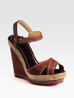 Christian Louboutin leather espadrille wedge sandals