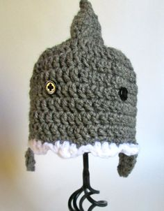 Baby Crochet Shark Hat Made to Order by ElleYarnCreations on Etsy, $18.00