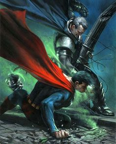 "extraordinarycomics: "" Batman vs Superman by Gabriele Dell'otto. Comics Anime, Marvel Comics, Arte Dc Comics, Marvel Dc, Batman Vs Superman, Batman Art, Batman Arkham, Batman Robin, Frank Miller"