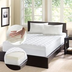 This 4.5-inch Memory Foam Mattress Topper features a unique two-piece construction to include a luxurious 3-inch layer of responsive Memory Foam designed to support your body and eliminate pressure points and a 1.5-inch overlay of fiberfill offers individual comfort with enhanced support for your entire body.