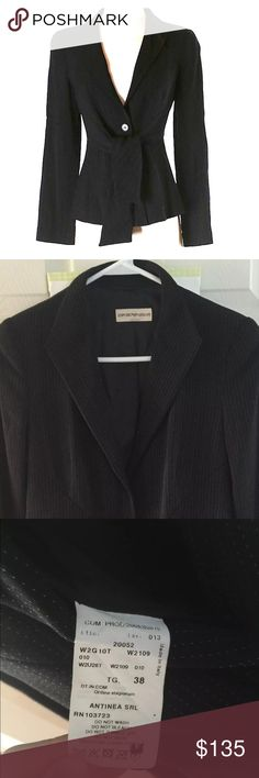 Emporio Armani jacket blazer size 38 Emporio Armani jacket blazer  Size 38  Color: black with white dotted pattern Retail: $1298.00 Rn# 103723 65% rayon  30% virgin wool 5% spandex Lining is 100% rayon  Total length: 25 inches Bust: 18.5 inches  Waist : 16 inches Made in Italy good Preowned condition. Emporio Armani Jackets & Coats Blazers