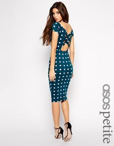 Bardot Cross Back Spot Midi Dress