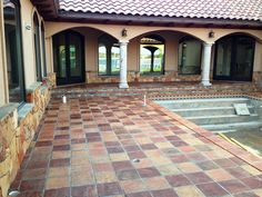 Get Saltillo Tile right from the source - Rustico Tile and Stone. We ship worldwide and offer discount prices for handmade Saltillo floor tile. Get a Quote. Spanish Flooring, Spanish Tile, Spanish Colonial Decor, Outside Tiles, Backyard Buildings, Patio Tiles, Stone Columns, Modern Pools, Beautiful Pools