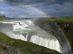 Iceland's most famous waterfall tumbles 105ft into a steep-sided canyon, kicking up a wall of spray.