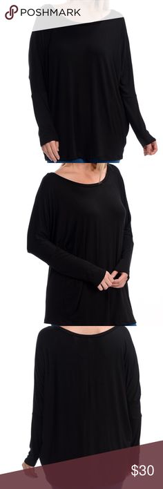 🆕 PLUS Scoop Neck Dolman Top Black Perfect basic and versatile top.  97% Rayon and 3% Spandex. Bellino Clothing Tops Tees - Long Sleeve
