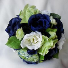 Wedding Accessories Blue Bridal Bouquet Navy and Green silk Wedding Flowers faux Brides Maid bokay. $59.00, via Etsy.