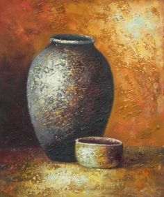 Wall Art finished in USAHistory: Still Life of Crockery I is a hand finished canvas oil painting. These objects look ancient, like they have been used for gener