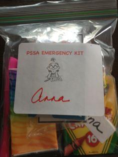 PSSA emergency kit Emergency Preparedness, Survival Kit, Teaching Tools, Teaching Ideas, Hurricane Kit, School Treats, Special Education, Counseling, School Stuff