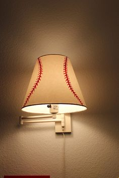 DIY Baseball Lampshade for in J's bed. A small one.