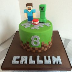 Exclusive Photo of Minecraft Birthday Cakes Minecraft Birthday Cakes Small Minecraft Birthday Cake With Steve And Creeper Cake Ideas cake decorating recipes anniversaire chocolat de paques cakes ideas Zombie Birthday Cakes, 8th Birthday Cake, Minecraft Birthday Cake, Cool Birthday Cakes, Birthday Cake Kids Boys, Birthday Ideas, Pastel Minecraft, Bolo Minecraft, Mindcraft Cakes