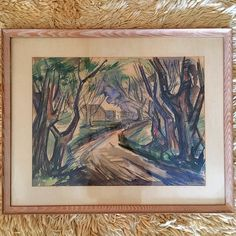 #Vintage #Treescape #Watercolor #Original Framed #1952 By #APercyUlbright #StLouisArtistGuild -Click On Link For All Info