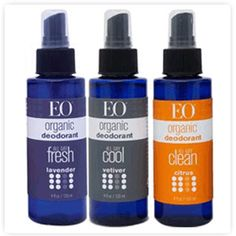 This organic deodorant by EO Products made with essential oils and organic alcohol will leave you feeling and smelling fresh. http://www.greengrabbag.com/tips_tricks_photos/eo_natural_deodorant_spray_lg.gif