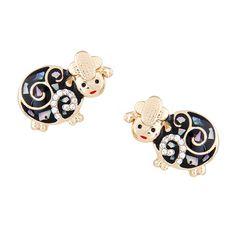 Swirly Marbled Black Sheep Earrings - Tessies